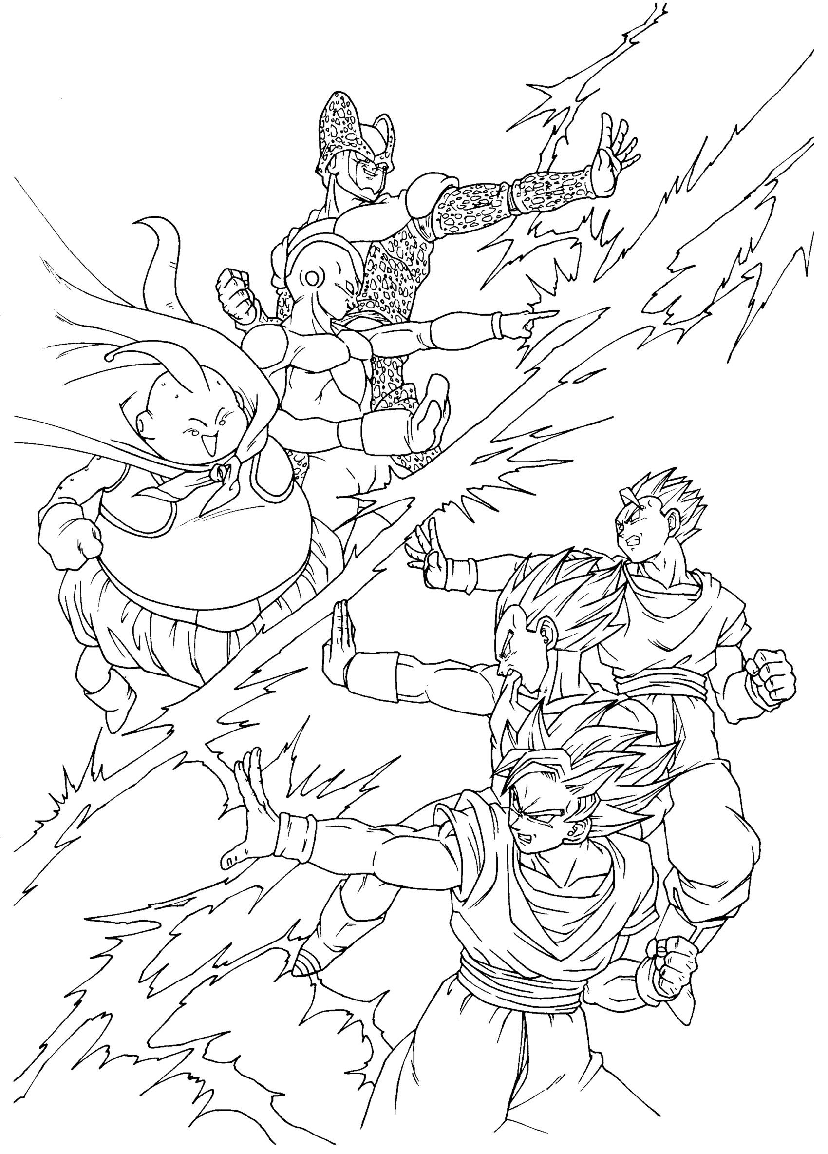 Free Dragon Ball Z coloring page to print and color, for kids : Songoku , Vegeta , SonGohan against Cell , Boo and Freezer