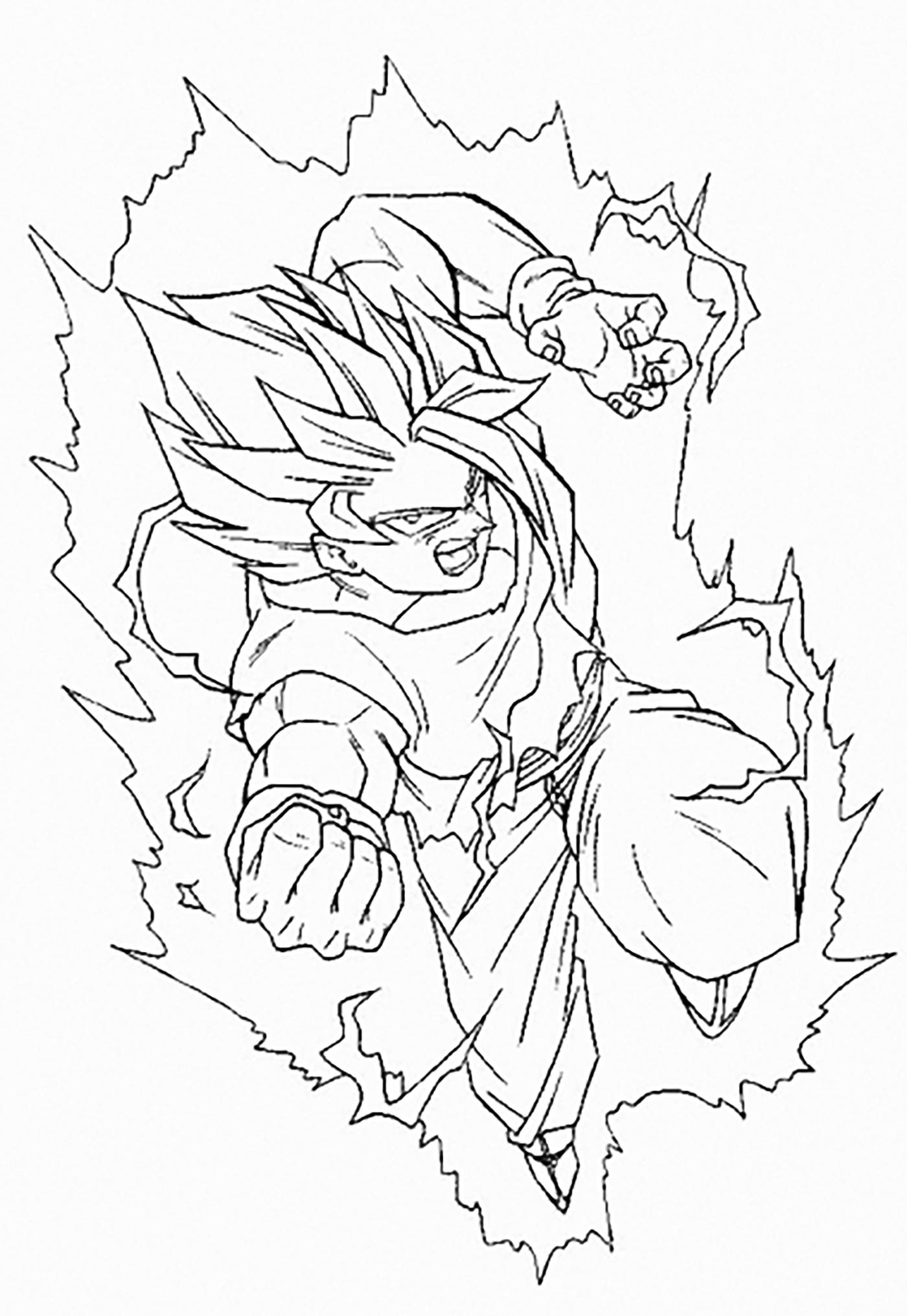 Songoku Super Saiyajin 2 Dragon Ball Z Kids Coloring Pages