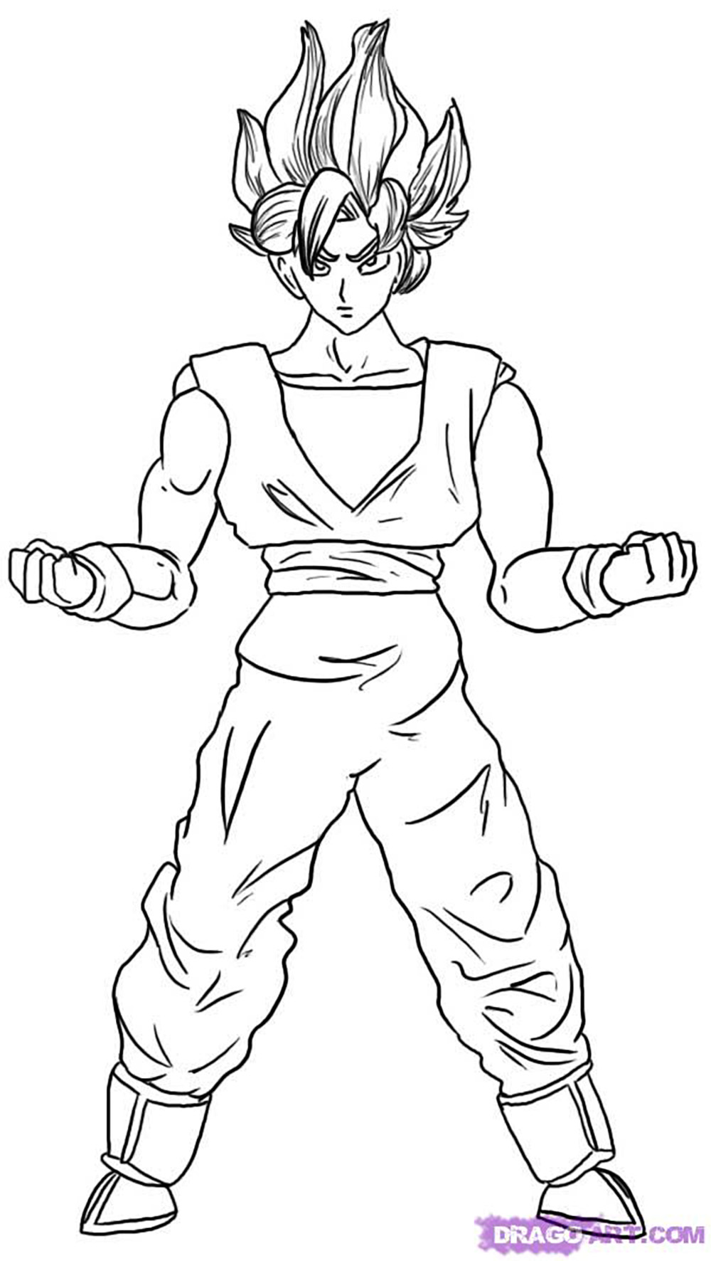 Simple Dragon Ball Z coloring page for kids : Songoku