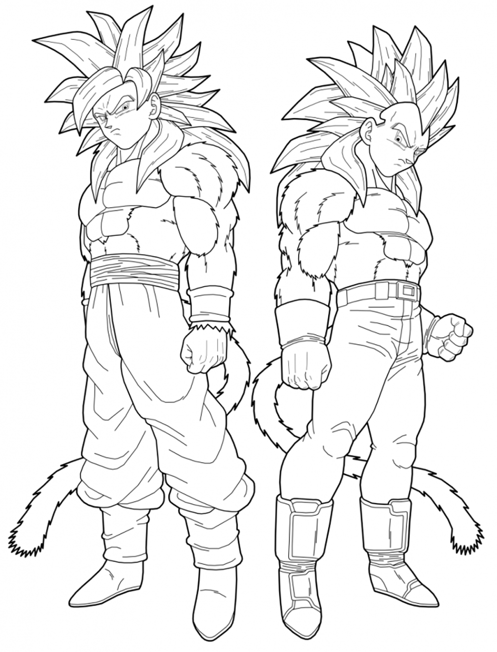Songoku And Vegeta Super Saiyajin 4 Dragon Ball Z Kids Coloring Pages
