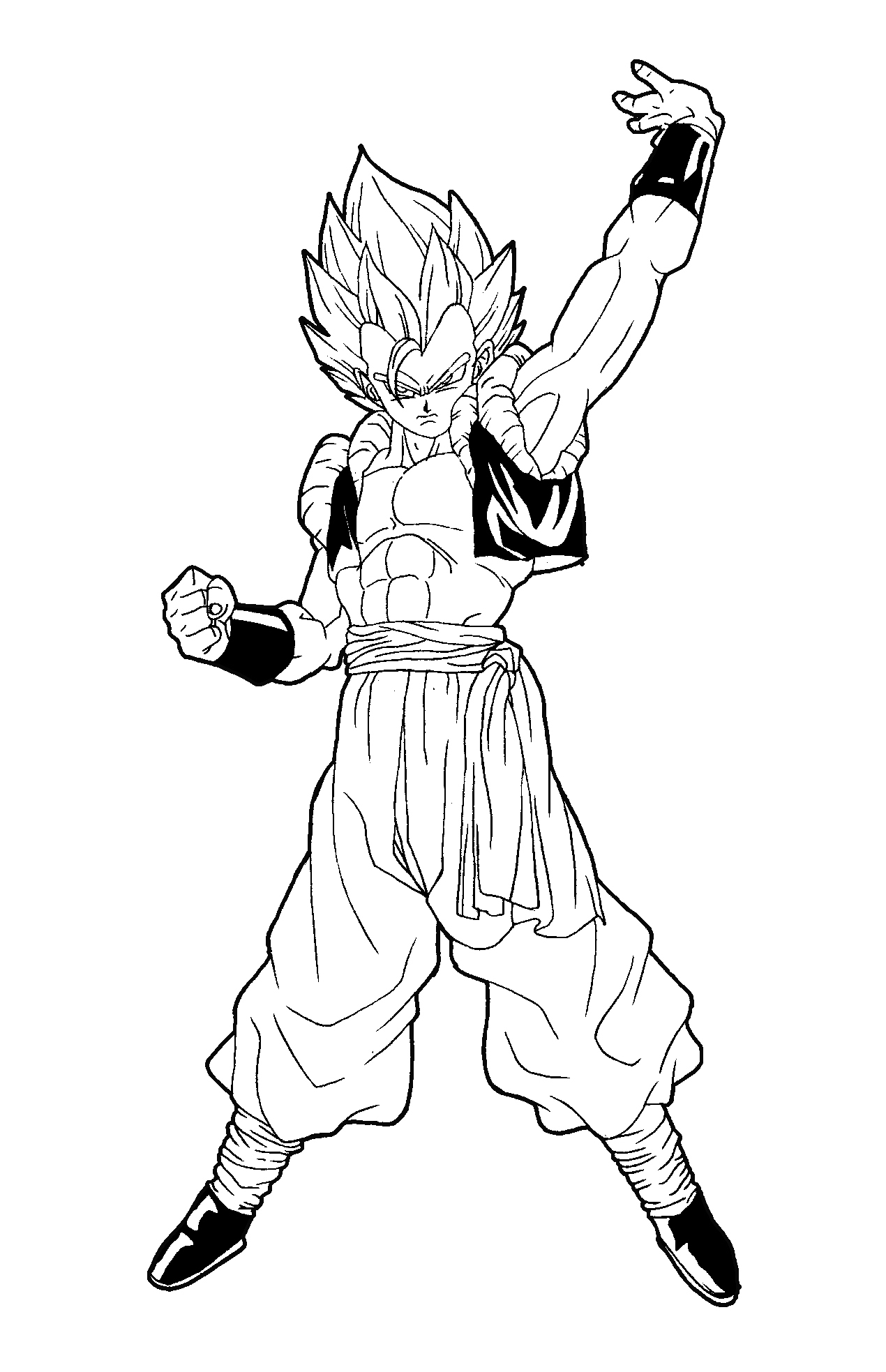 Beautiful Dragon Ball Z coloring page to print and color : Gogeta