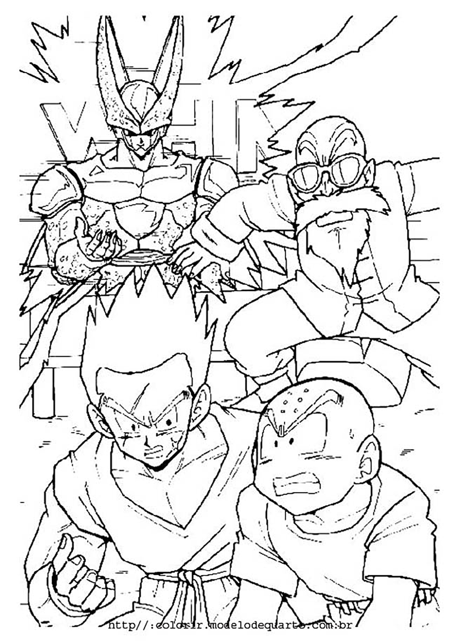 Beautiful Dragon Ball Z coloring page : Cell , Krilin , Kamé Senin and Yamcha