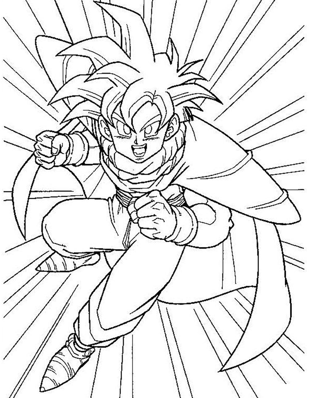 Dragon Ball Z coloring page to download : Songohan Super Saiyajin