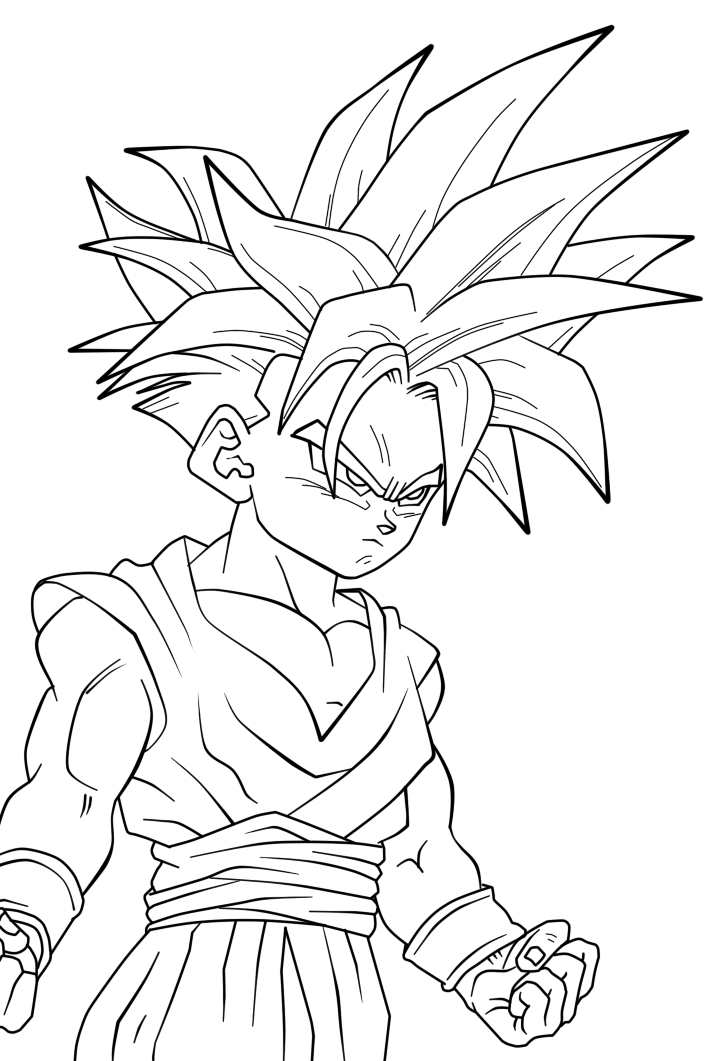 Son gohan Super Saiyajin - Dragon Ball Z Kids Coloring Pages