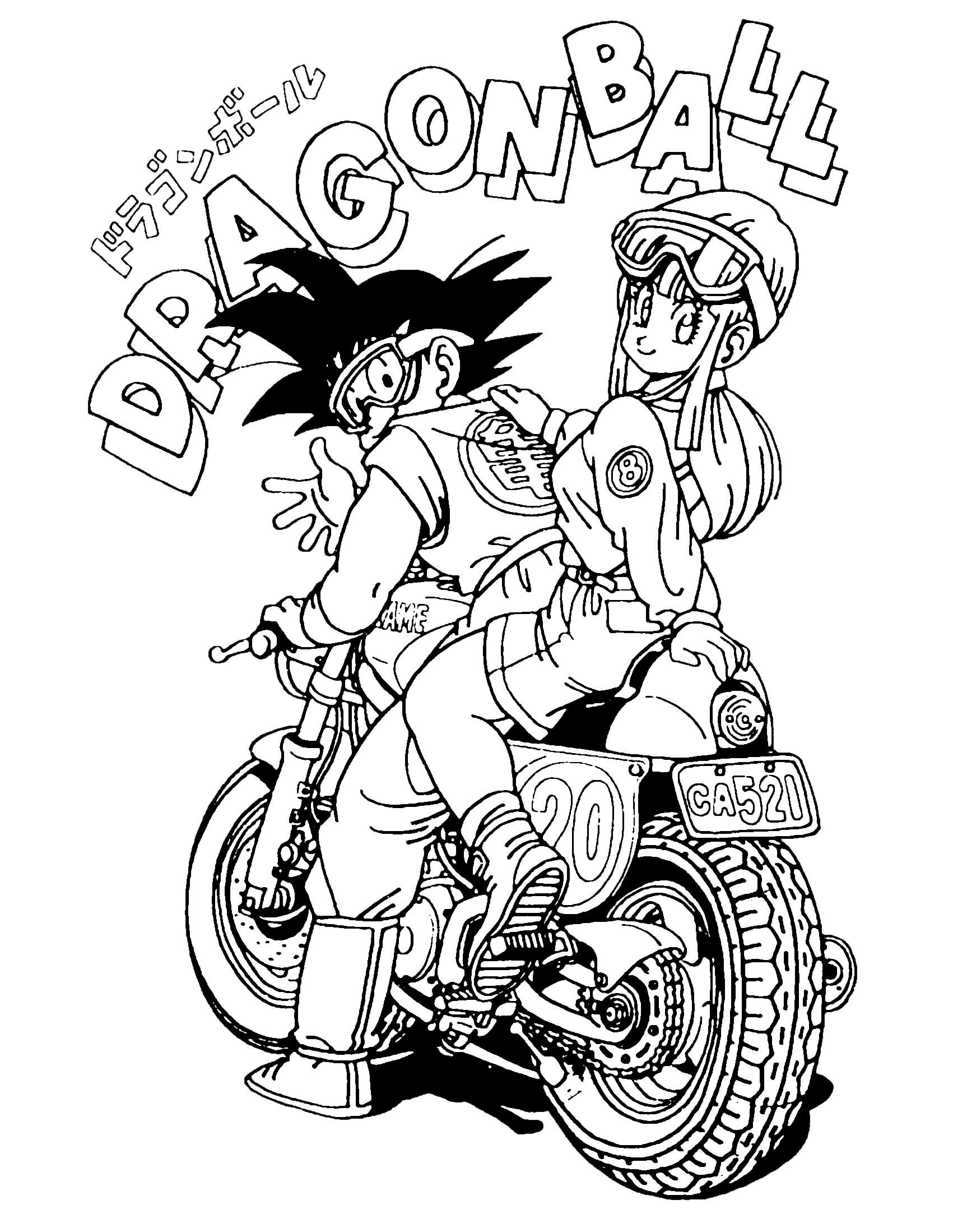 Printable Dragon Ball Z Colouring Pages | Sangoku And Bulma On Motorbike Dragon Ball Z Kids Coloring Pages