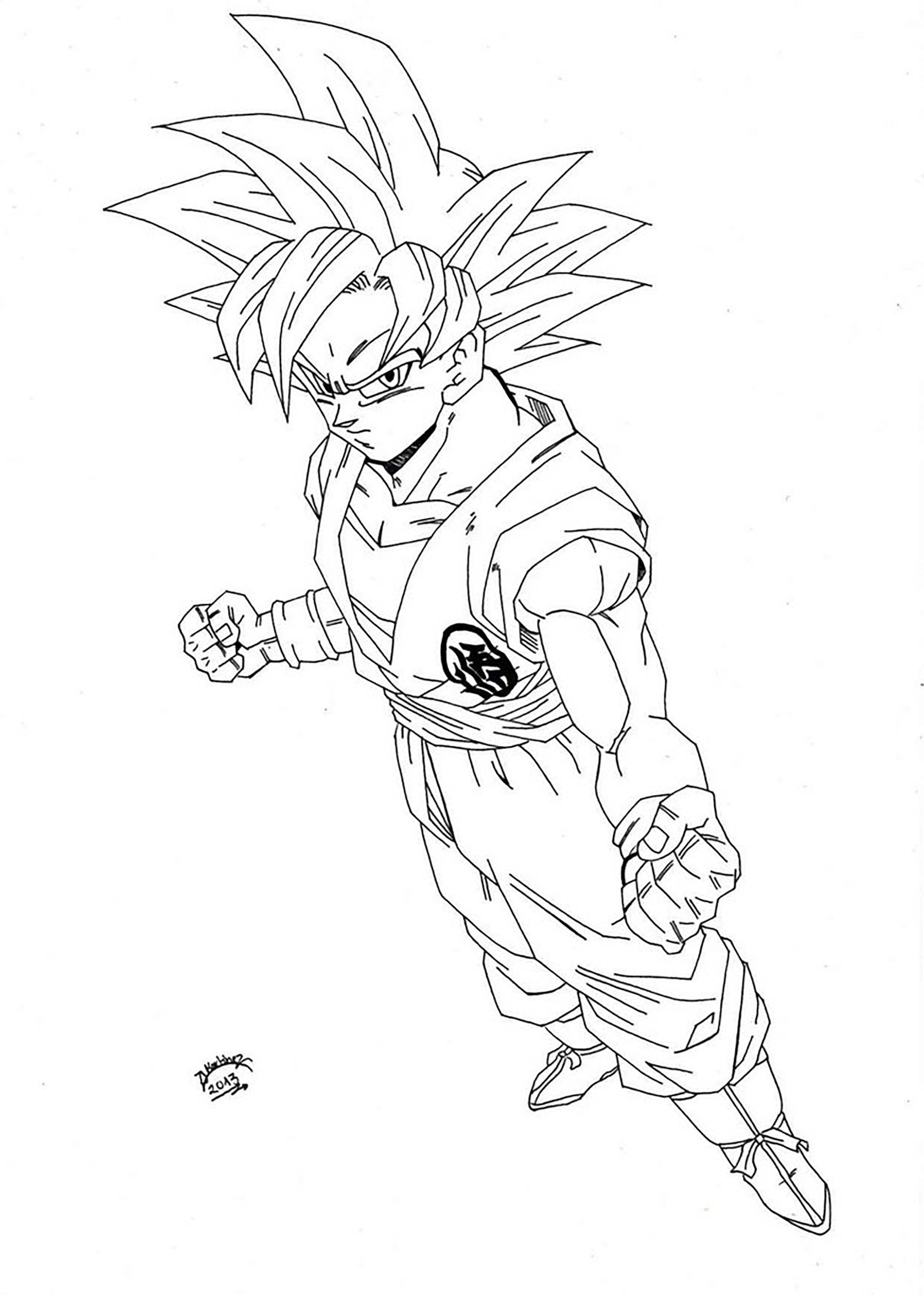 Beautiful Dragon Ball Z coloring page to print and color : Songoku