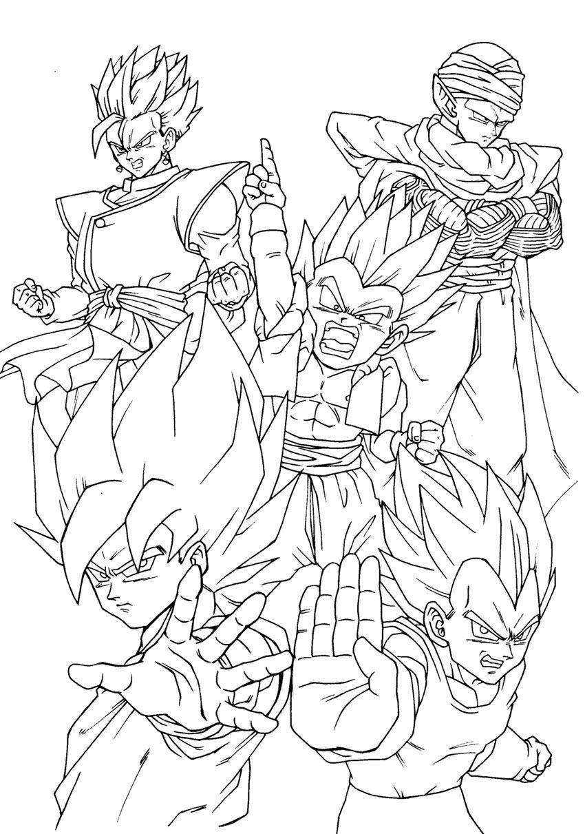 Gotenks Vegeta Songoku Piccolo And Songohan Dragon Ball Z