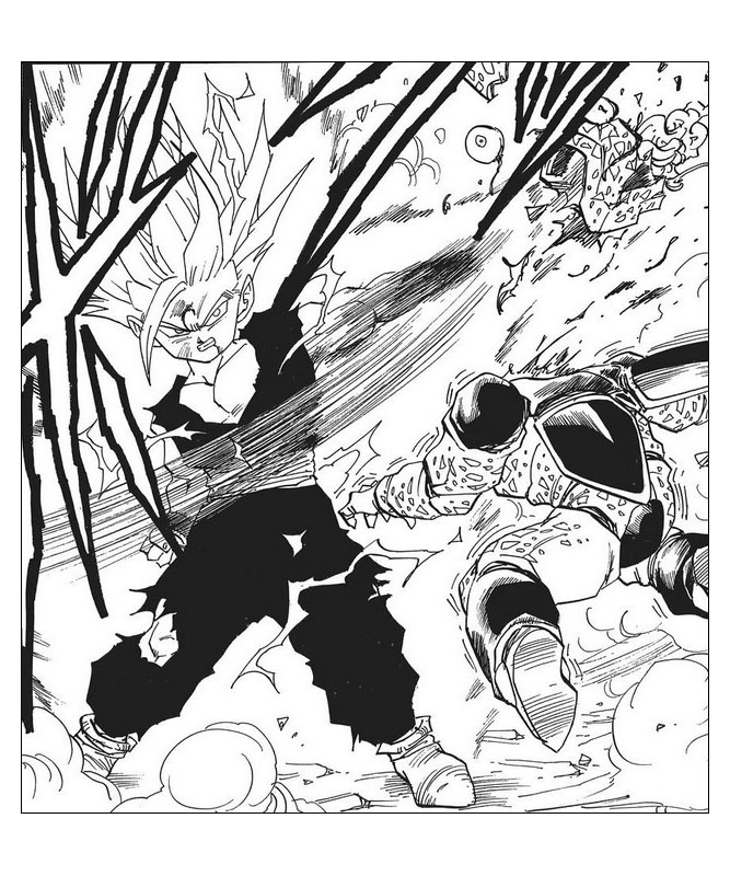 Simple Dragon Ball Z coloring page for children : Songohan Super Saiyajin 2 and Cell