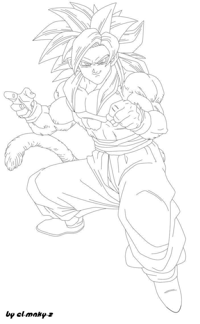 Simple Dragon Ball GT coloring page to print and color for free : Songoku Super Saiyajin 4