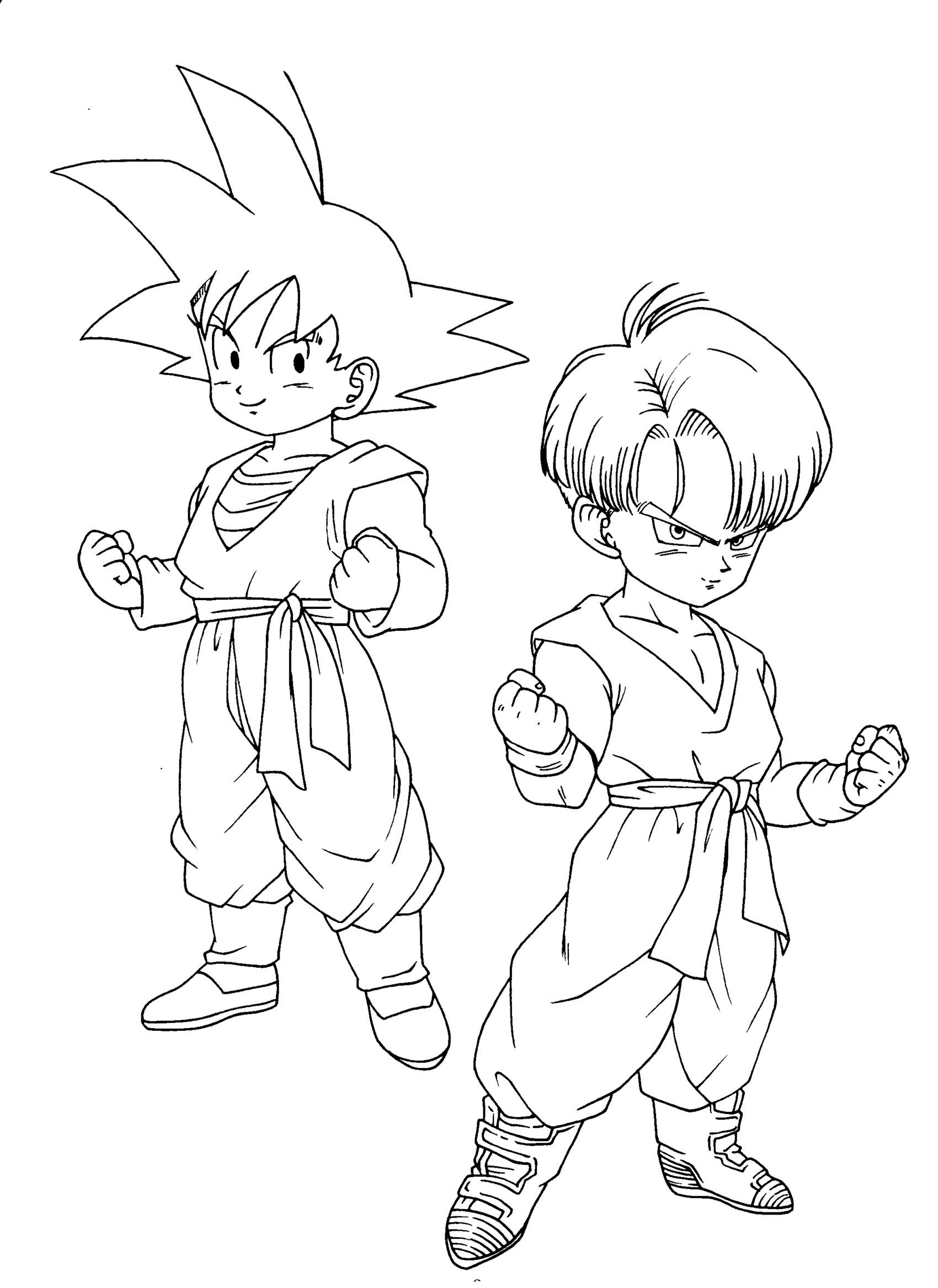 Free Dragon Ball Z coloring page to print and color, for kids : Songoten Trunks