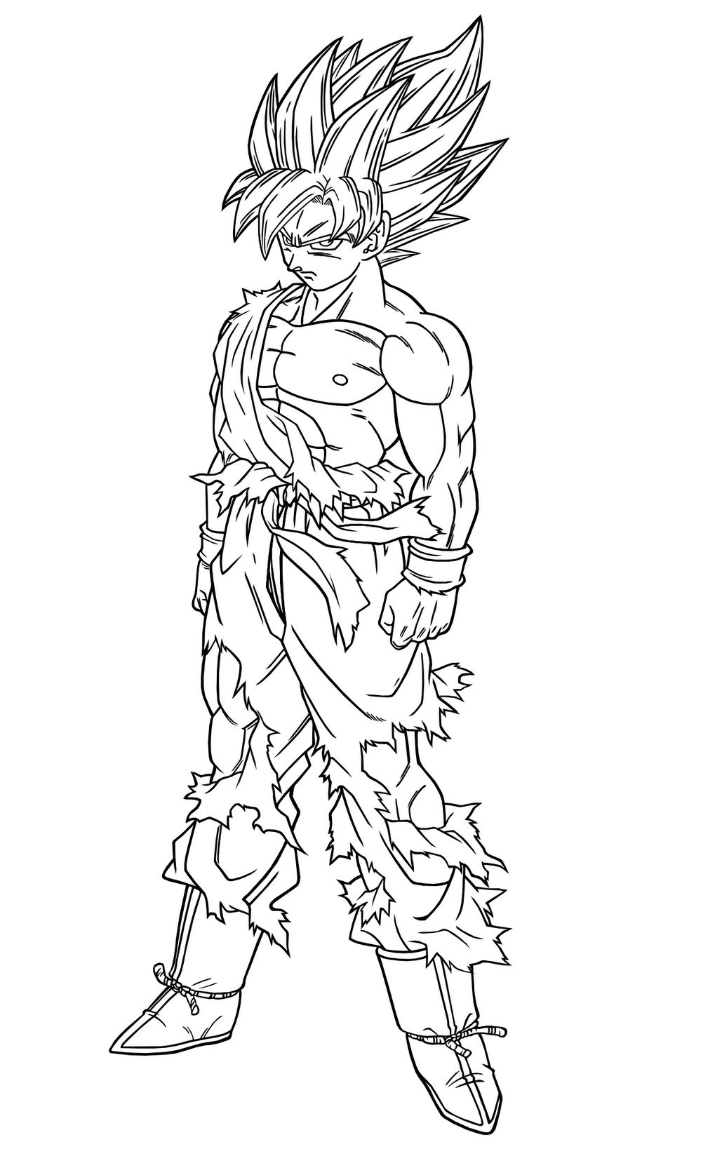 Songoku Super Saiyajin - Dragon Ball Z Kids Coloring Pages