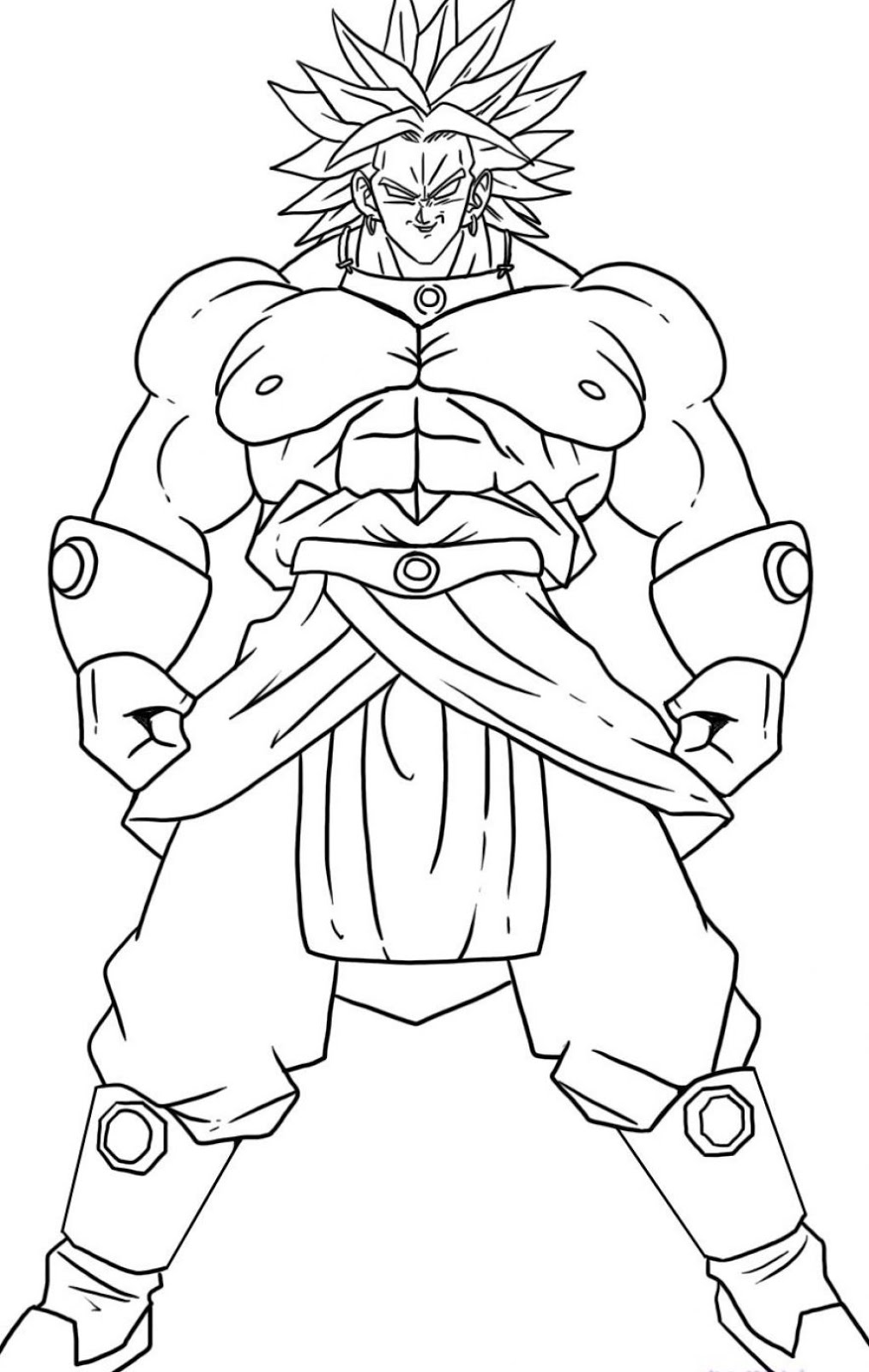 Dragon ball z coloring page to print and color for free broly super saiyajin