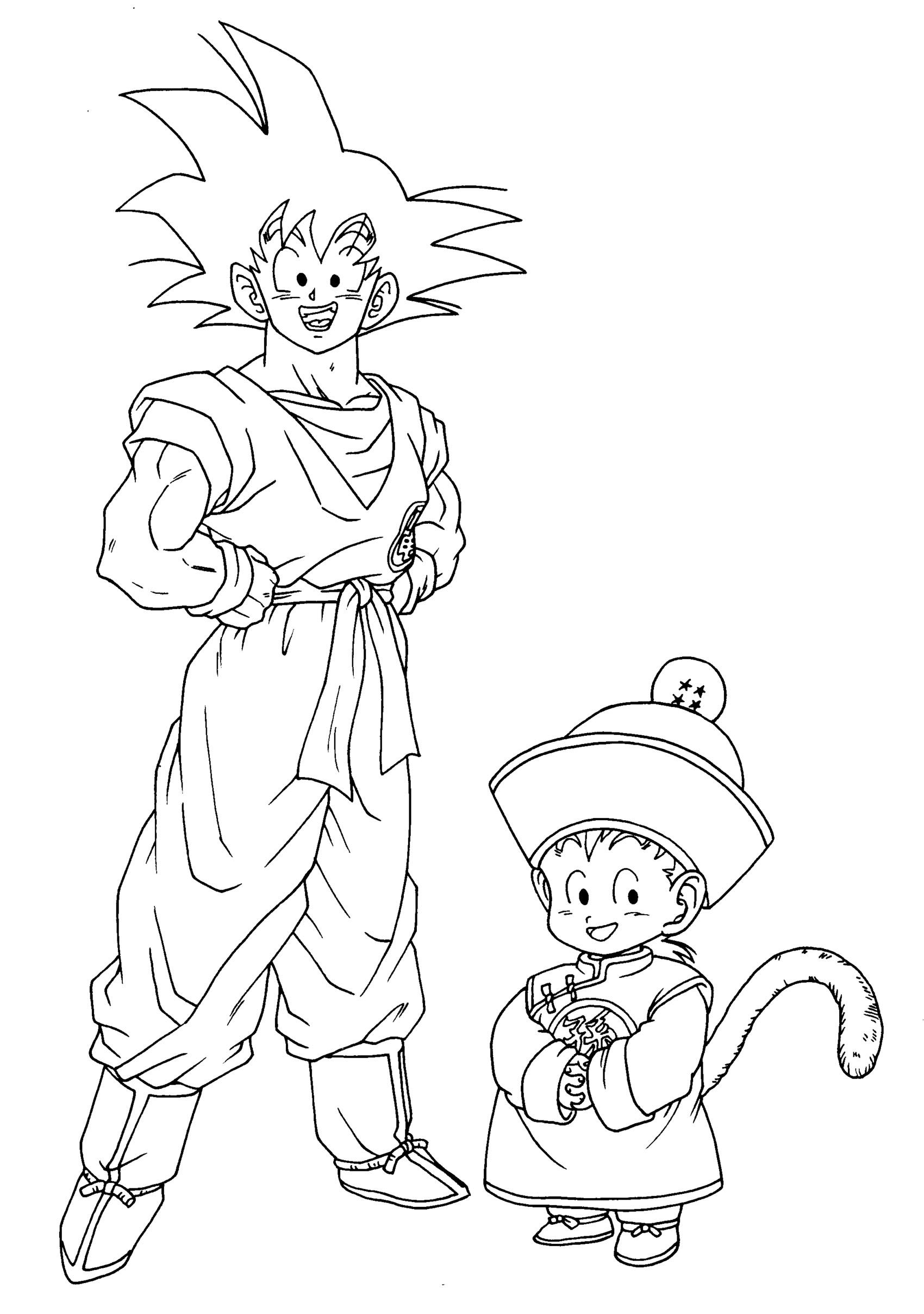 Dragon Ball Z coloring page with few details for kids : Songoku and Songohan