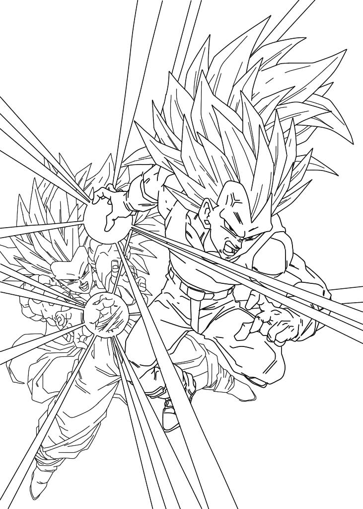 Vegeta And Son Goku Super Saiyajin 3 Dragon Ball Z Kids Coloring Pages