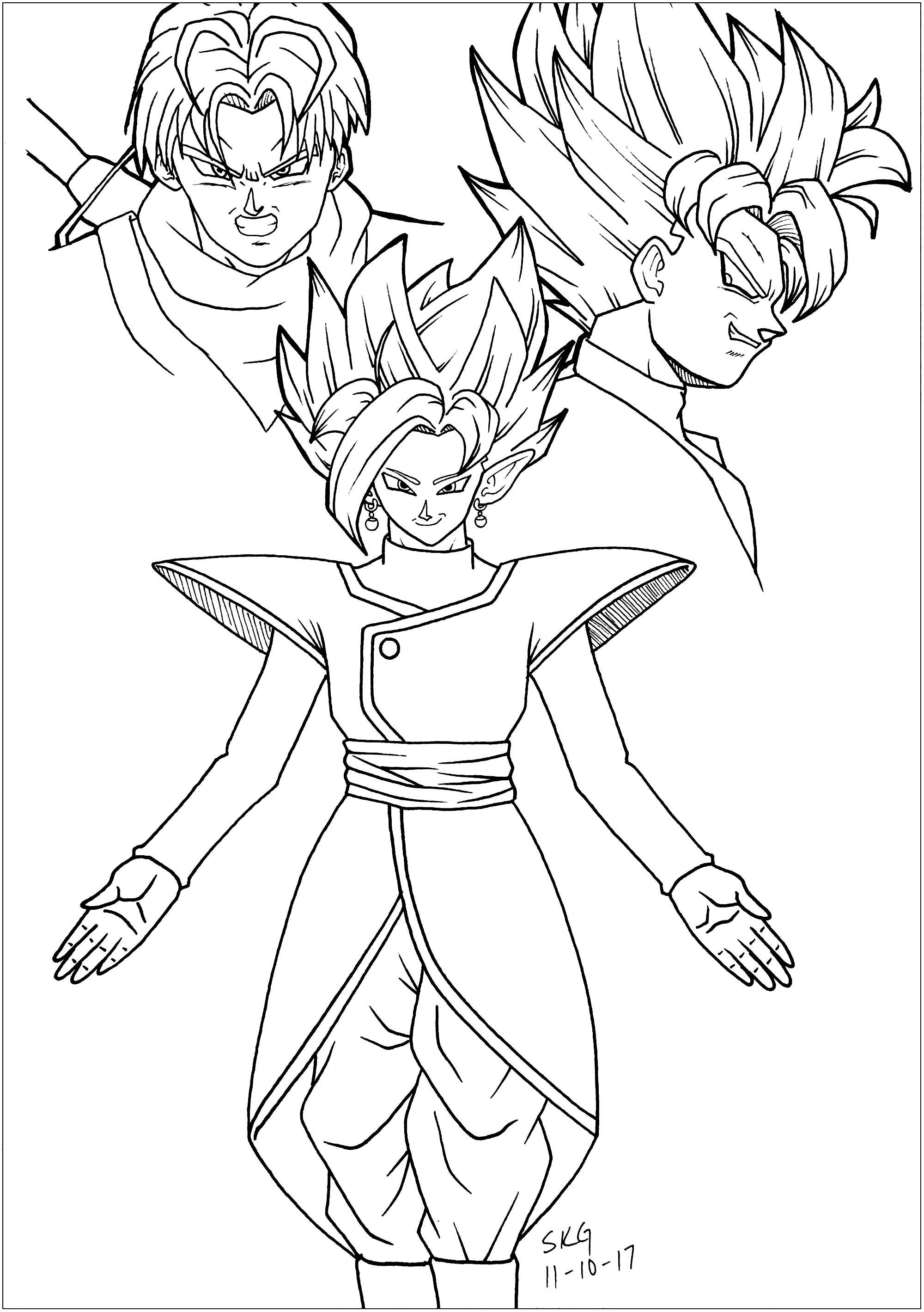 Black Goku Trunks And Zamasu Dragon Ball Z Kids Coloring Pages