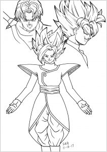 Black Goku , Trunks and Zamasu