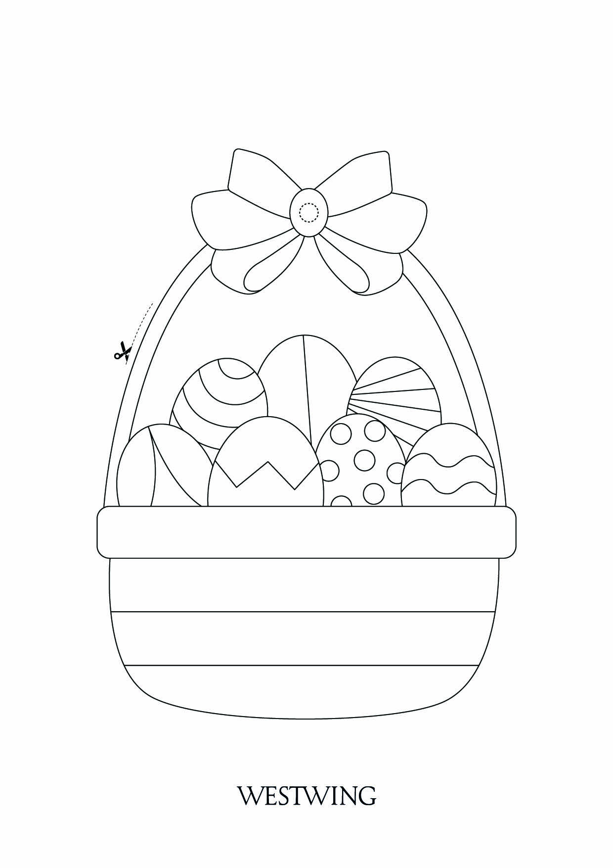 Simple Easter coloring page to print and color for free