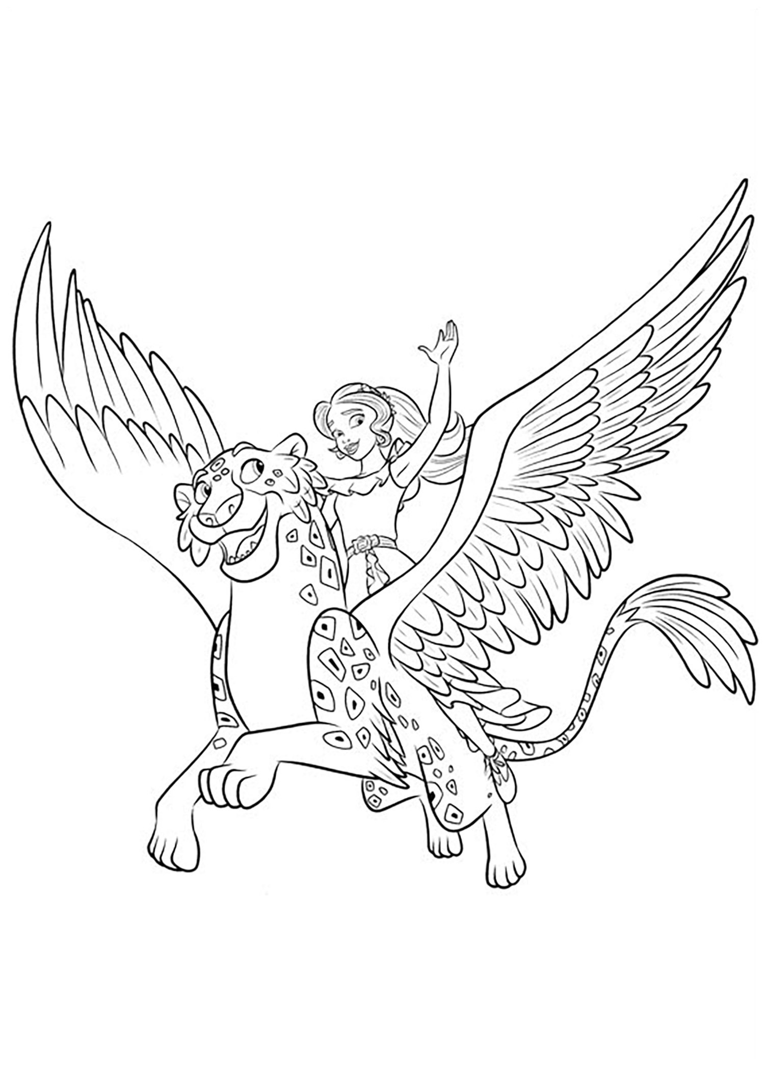 Simple Elena Avalor coloring page