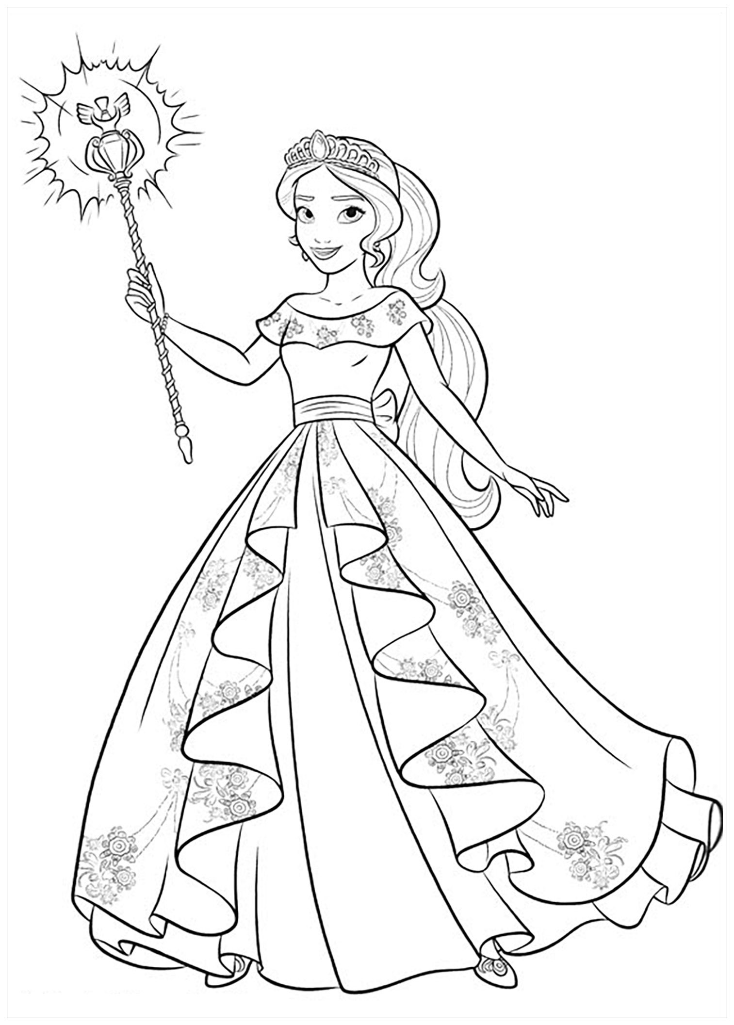 Elena Avalor coloring page with few details for kids