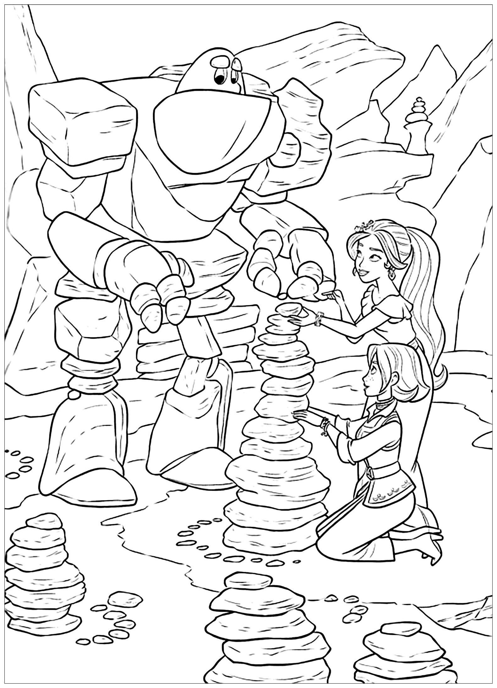 Simple Elena Avalor coloring page to print and color for free