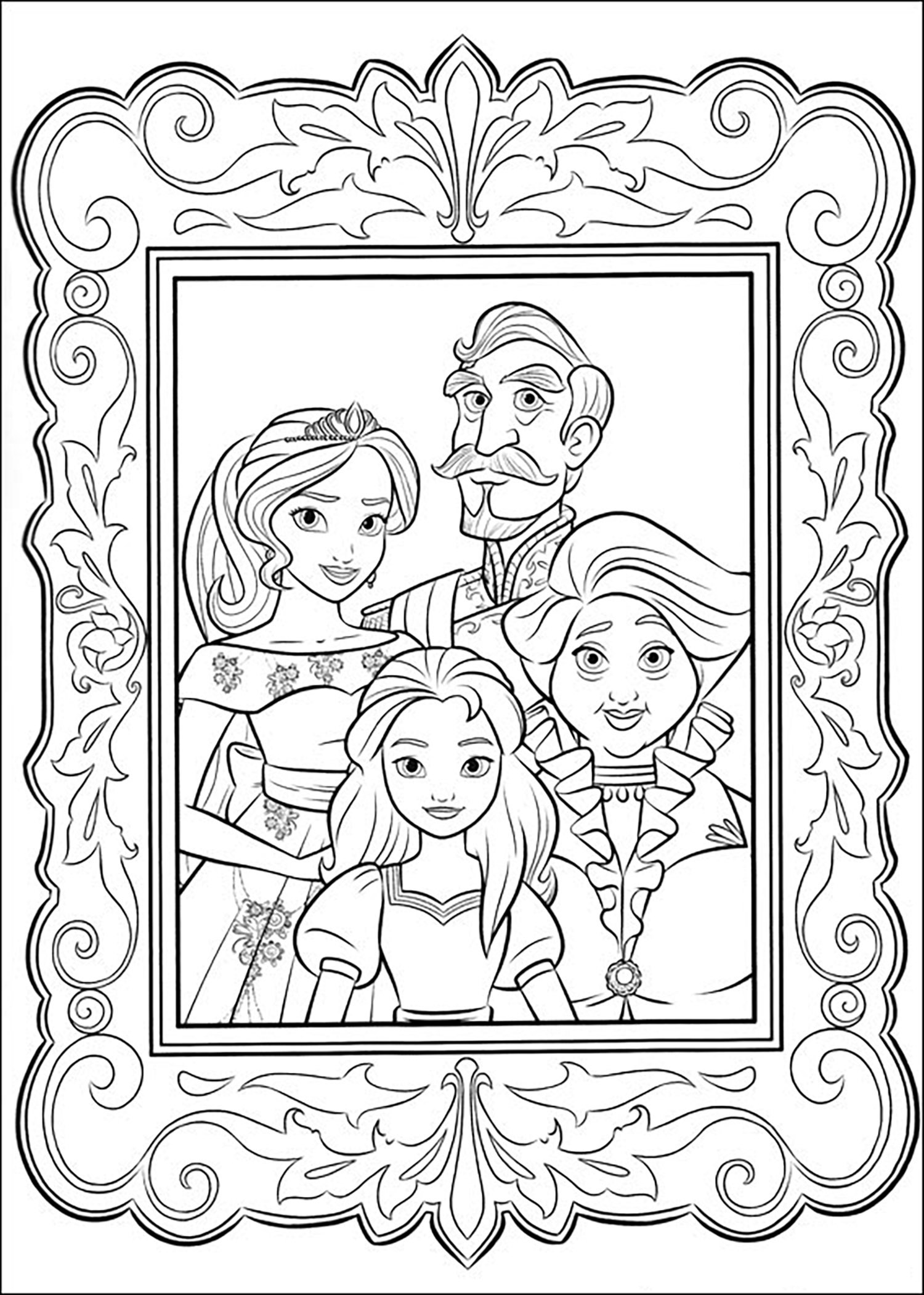 Simple Elena Avalor coloring page to download for free