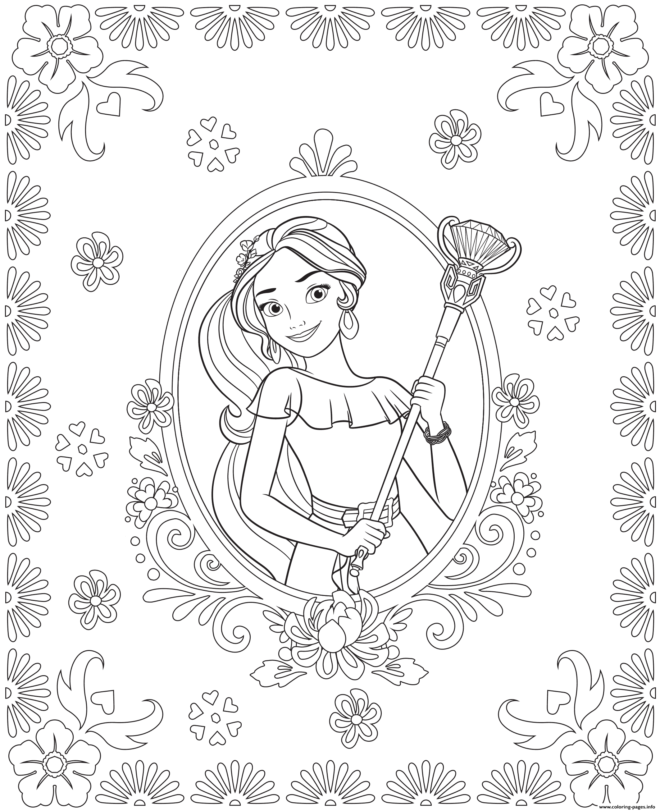 Free Elena Avalor coloring page to print and color