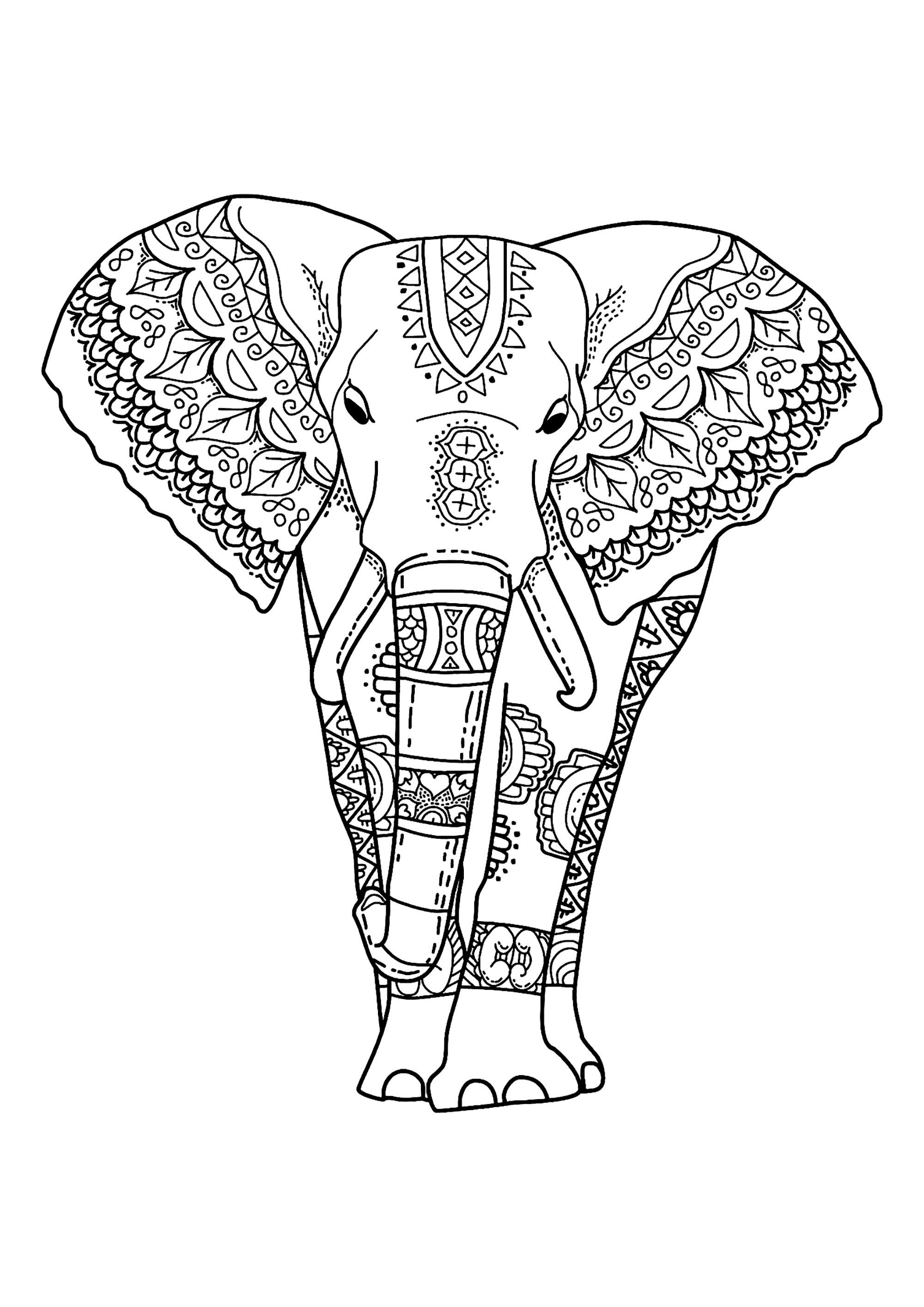 Elephants to color for children - Elephants Kids Coloring ...