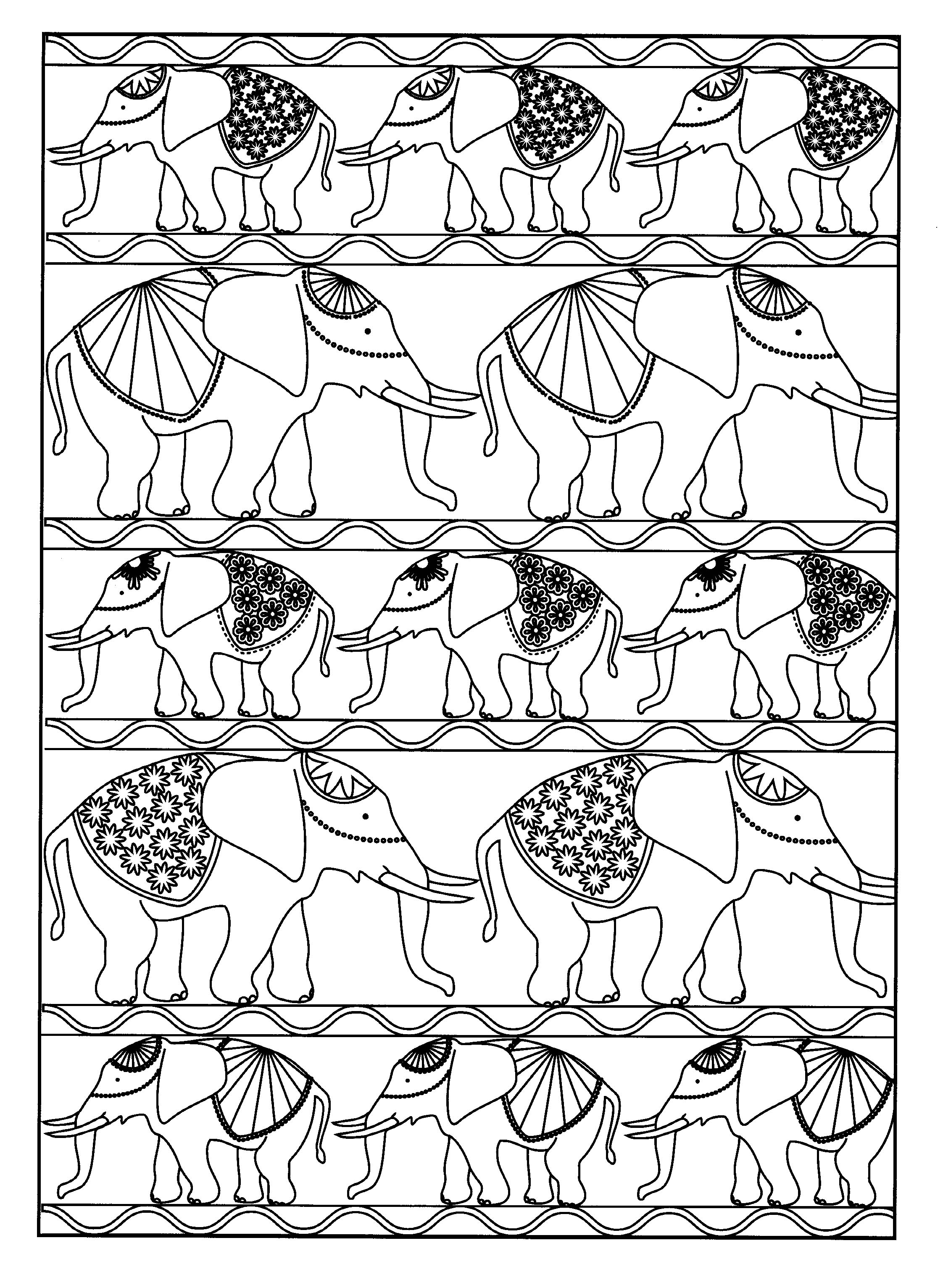 Simple Elephants Coloring Page