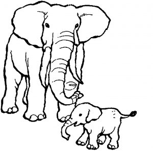 Coloring page elephants to print