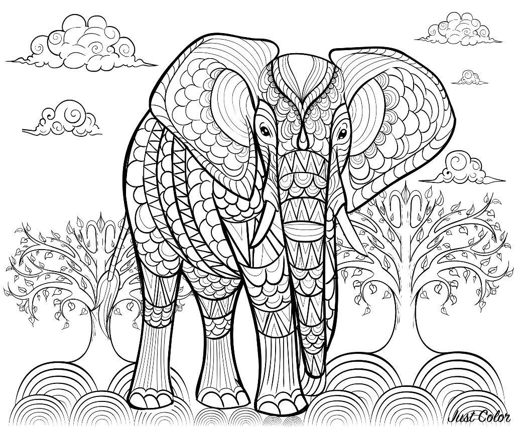 Elephants coloring page to print and color for free