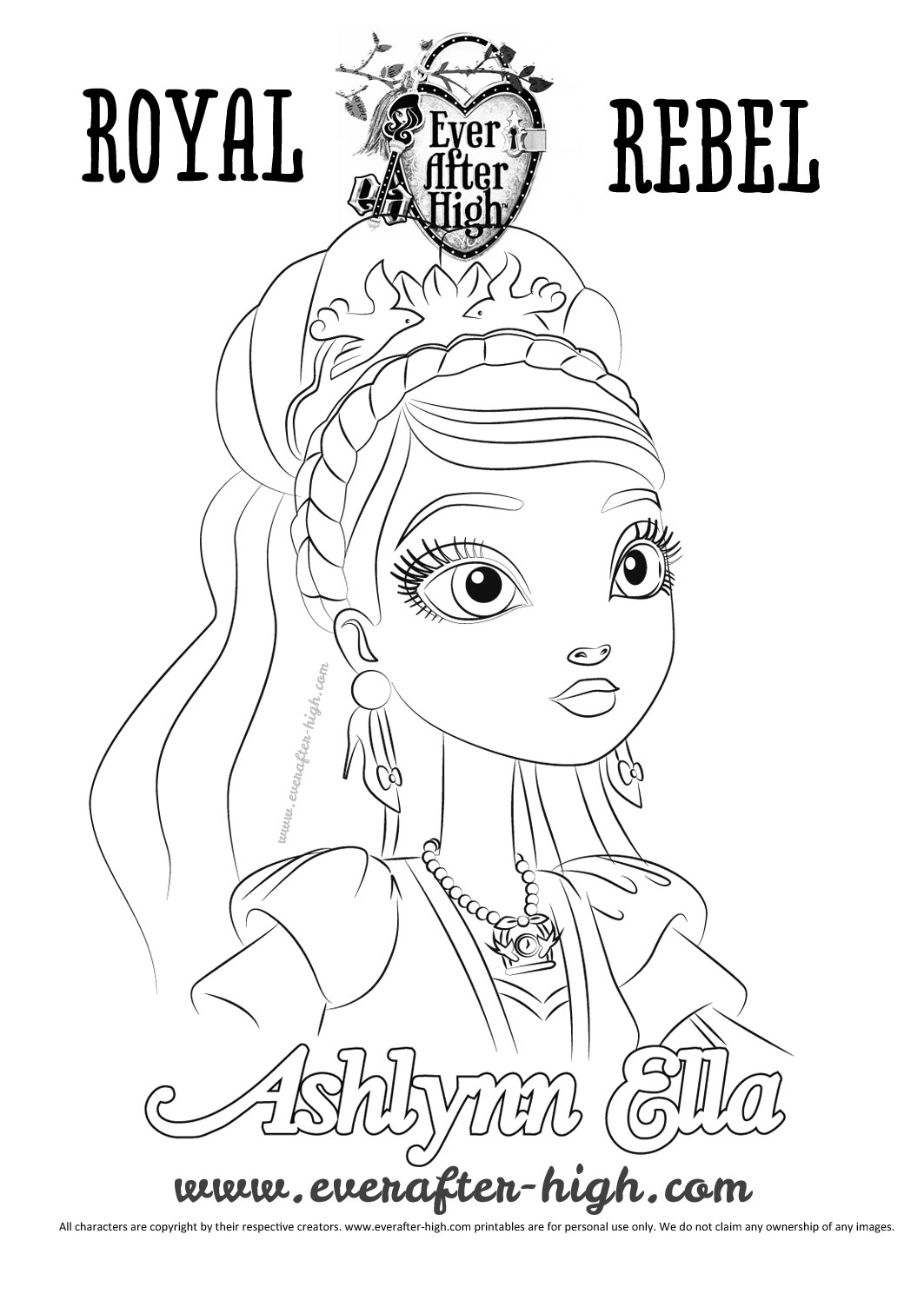 Beautiful Ever After High Coloring Page To Print And Color