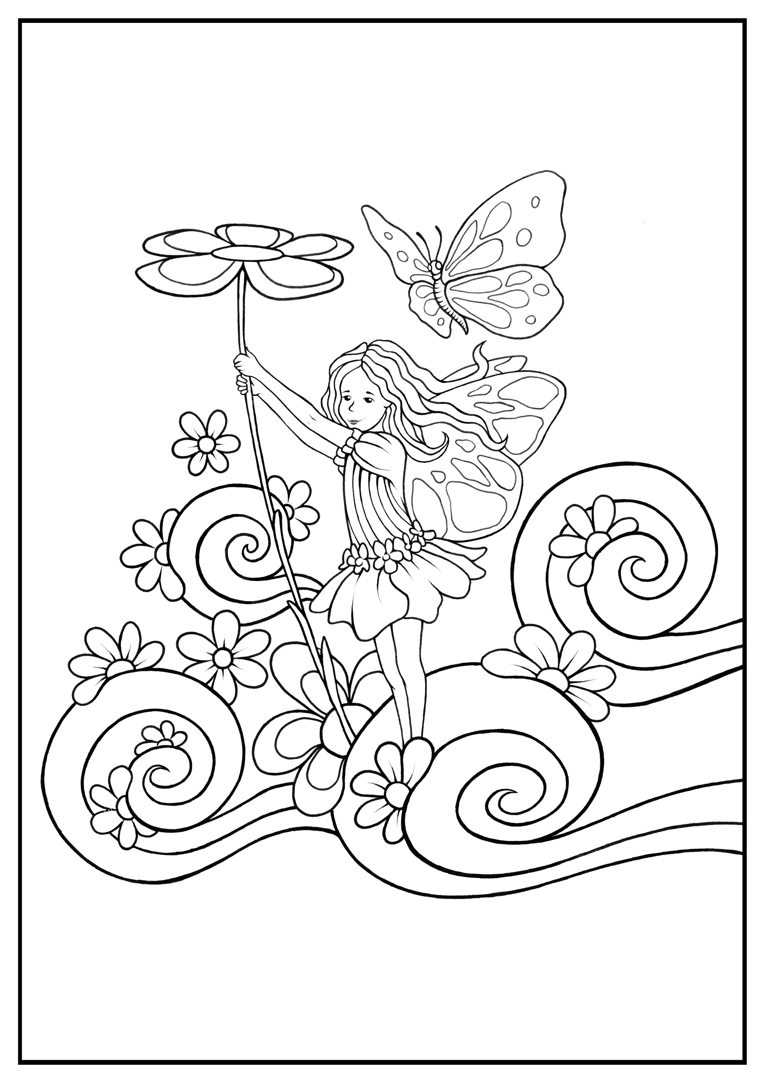 Simple Fairy coloring page
