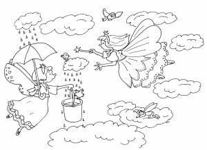 Coloring page fairy for kids