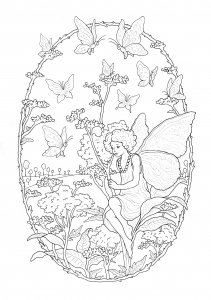 Coloring page fairy free to color for children