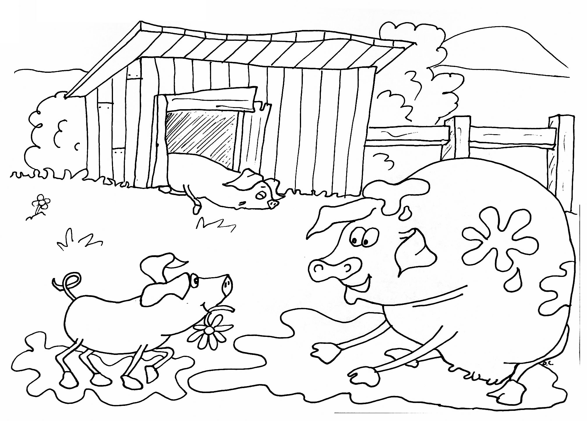 Free Farm coloring page to download