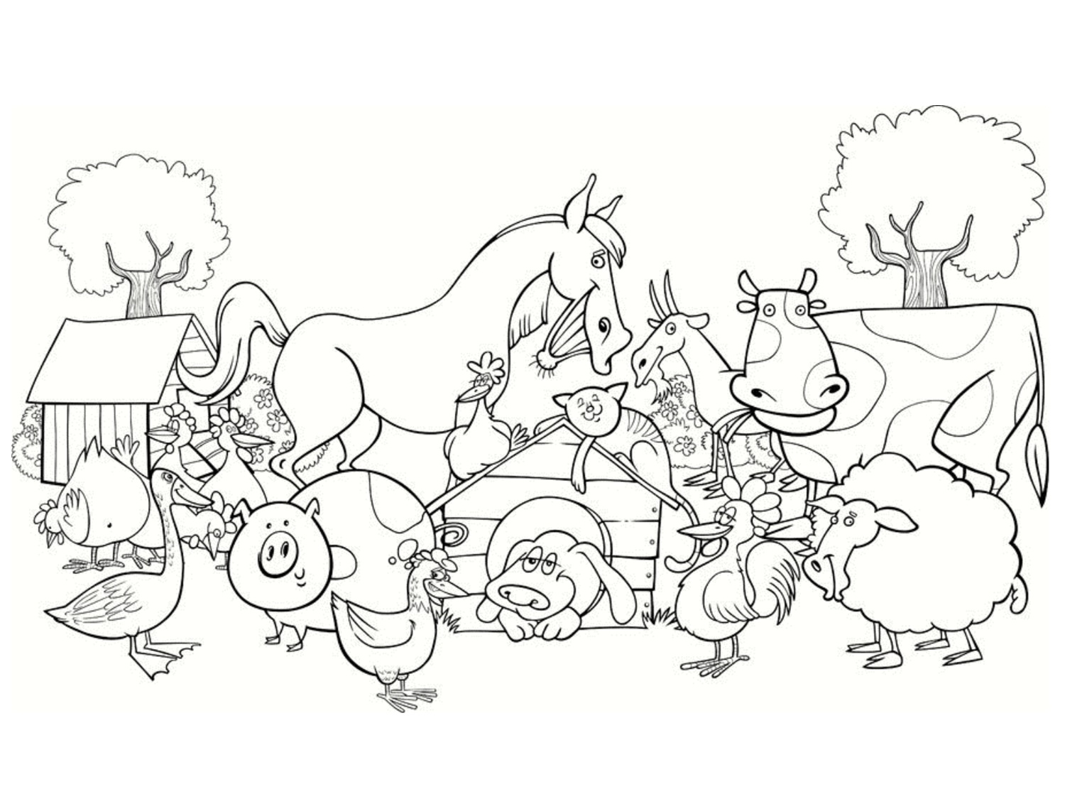 Free Farm coloring page to download, for children