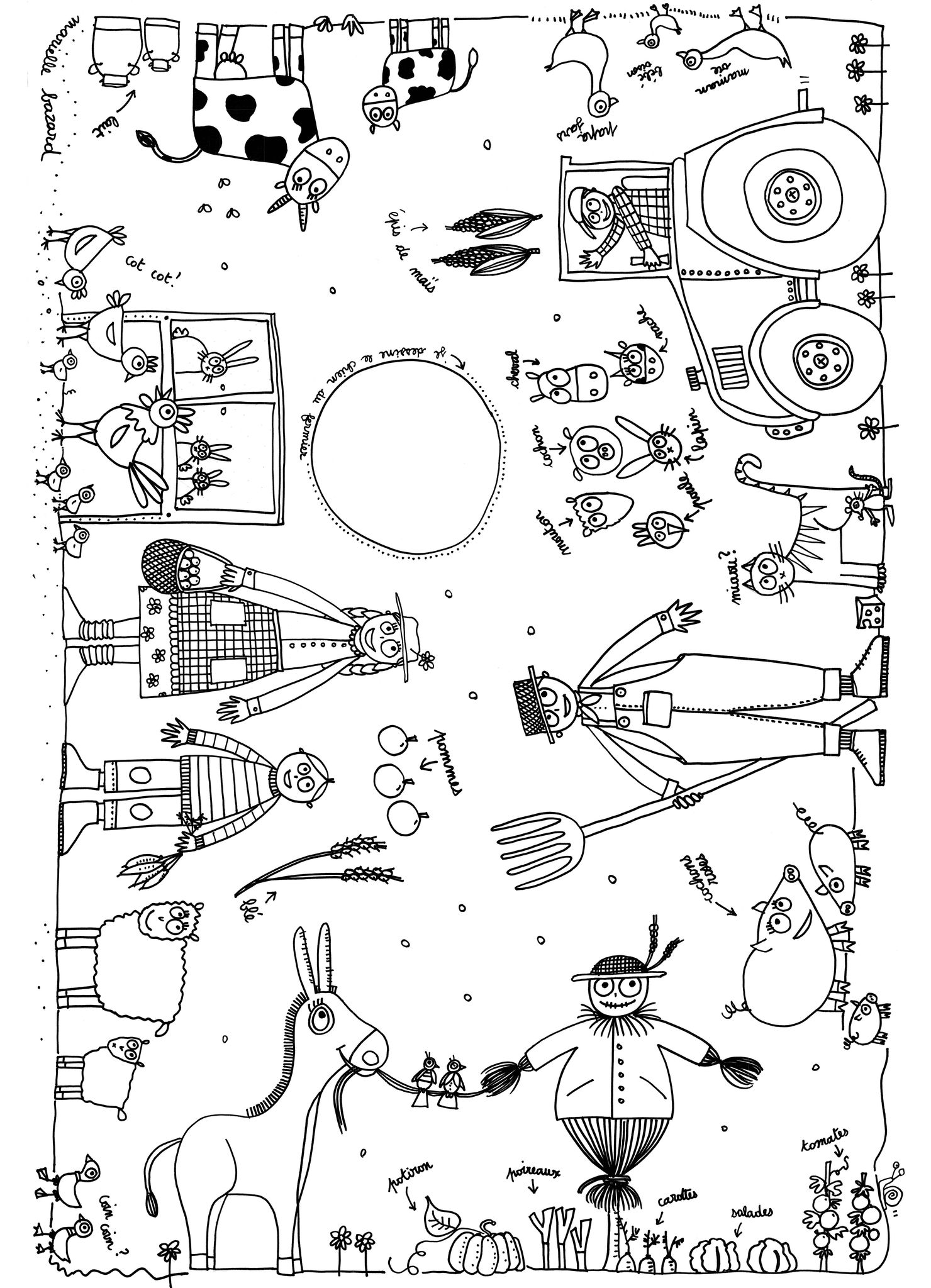 Farm coloring page to print and color