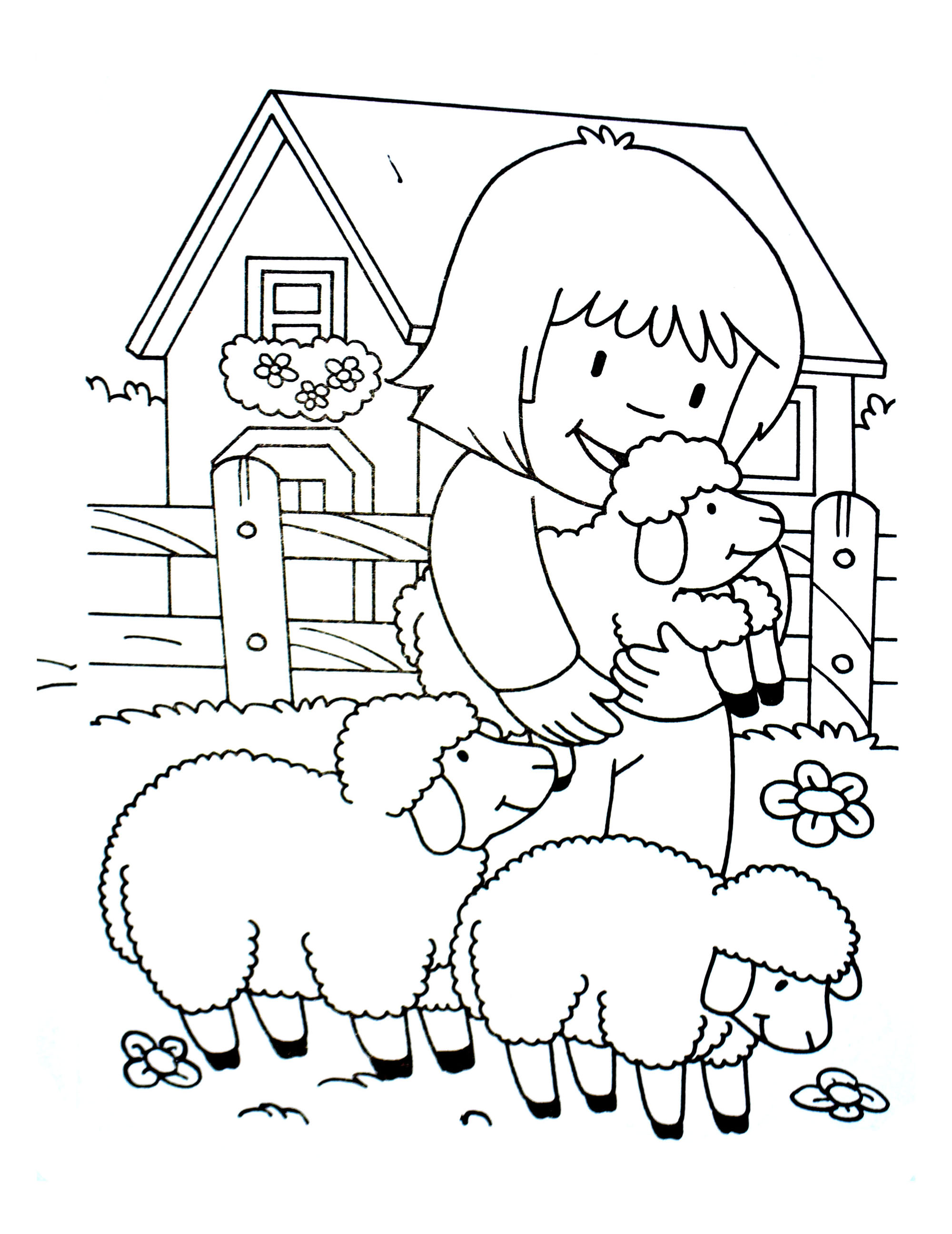 Simple Farm coloring page for children