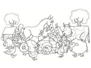 Coloring page farm for kids