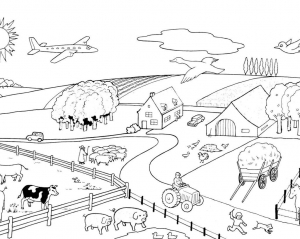 Coloring page farm to color for children