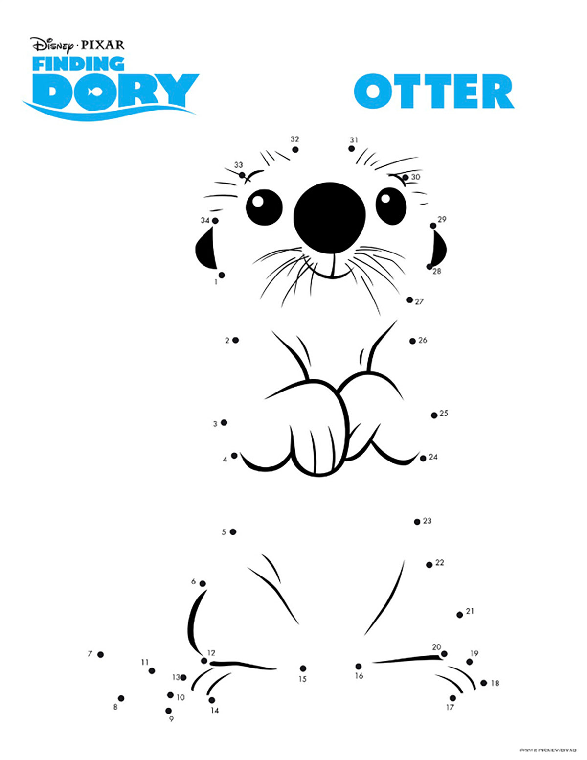 Finding Dory coloring page to download for free : Otter