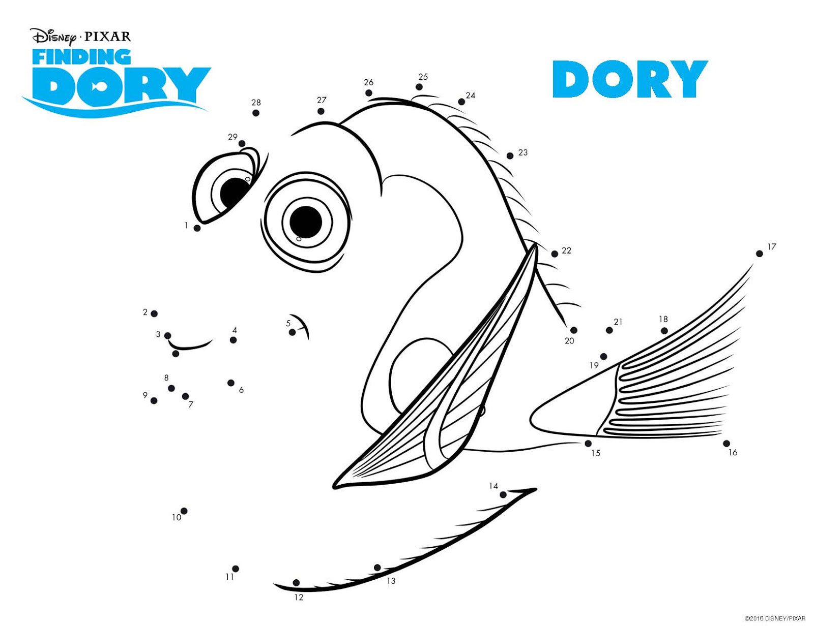 Simple Finding Dory coloring page for children : Dory