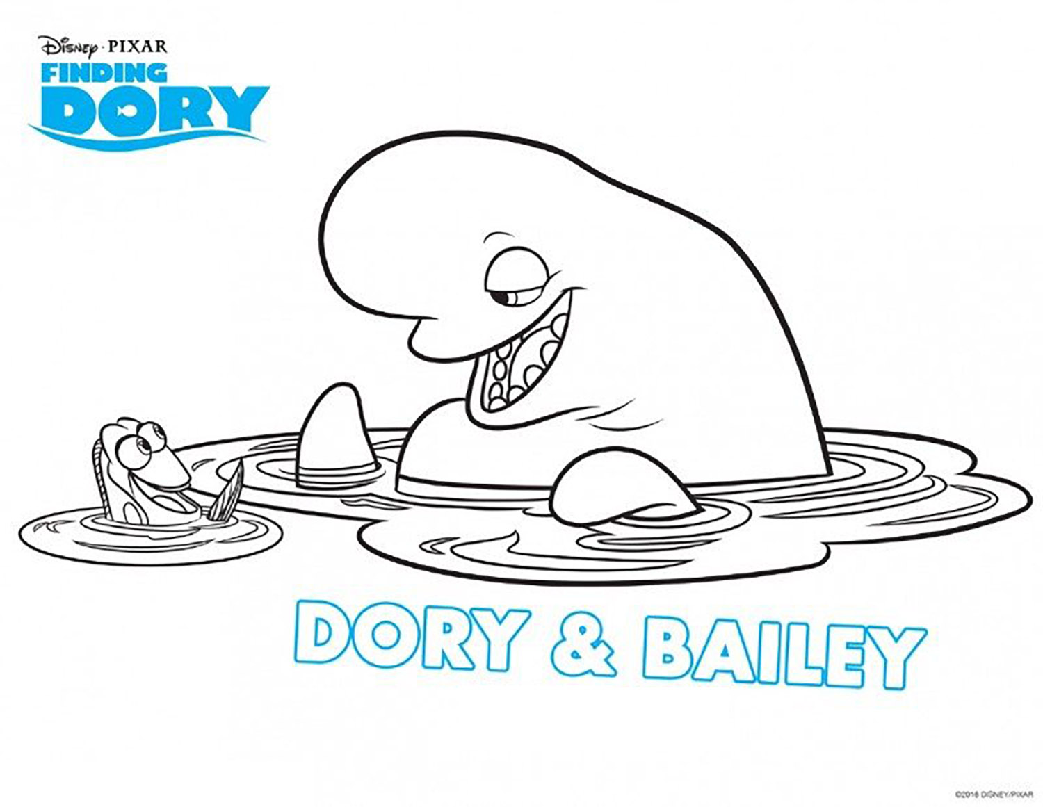 Simple Finding Dory coloring page for children : Dory & Bailey