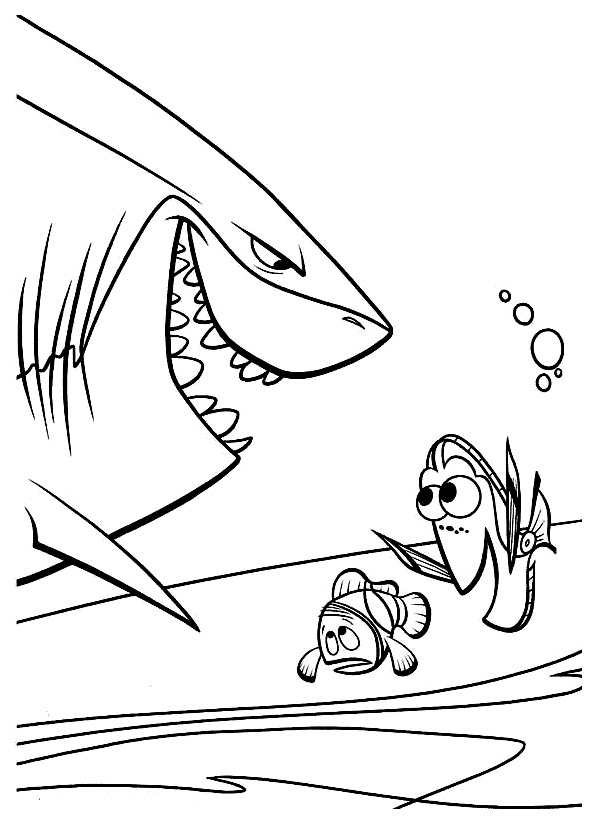 Simple Finding Nemo coloring page to print and color for free