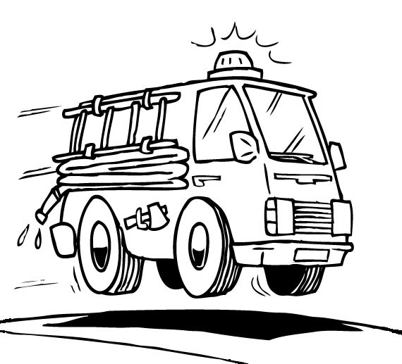 Simple Fire Department coloring page to print and color for free