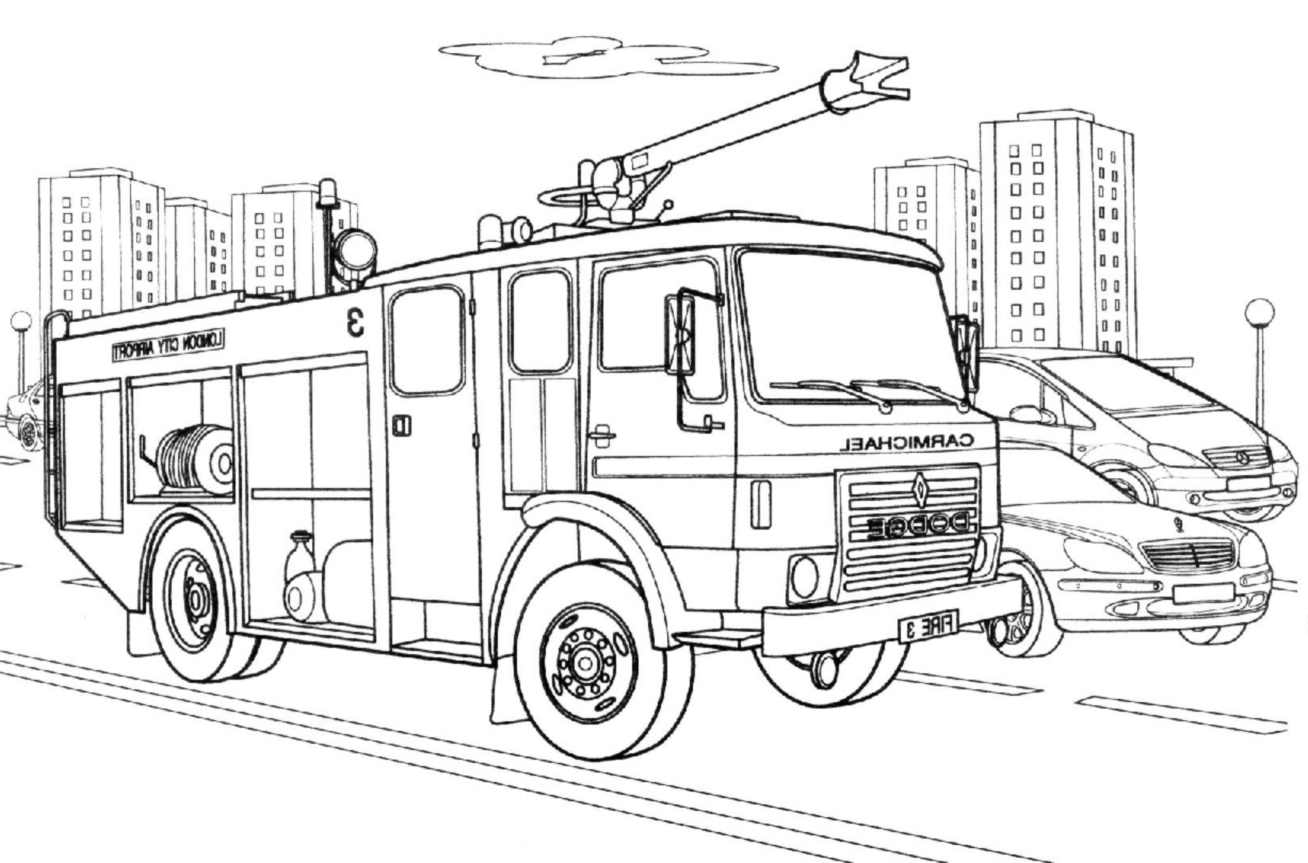 Printable Fire Department coloring page to print and color for free