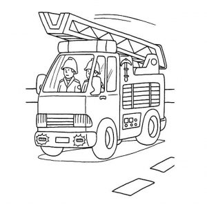 Coloring page fire department for kids