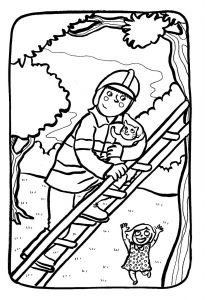Coloring page fire department to color for children
