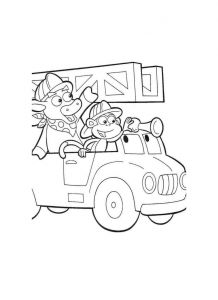 Coloring page fire department for children