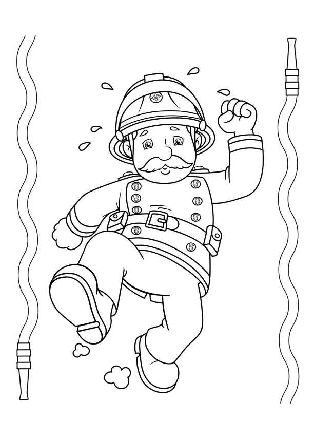 Funny free Fireman Sam coloring page to print and color